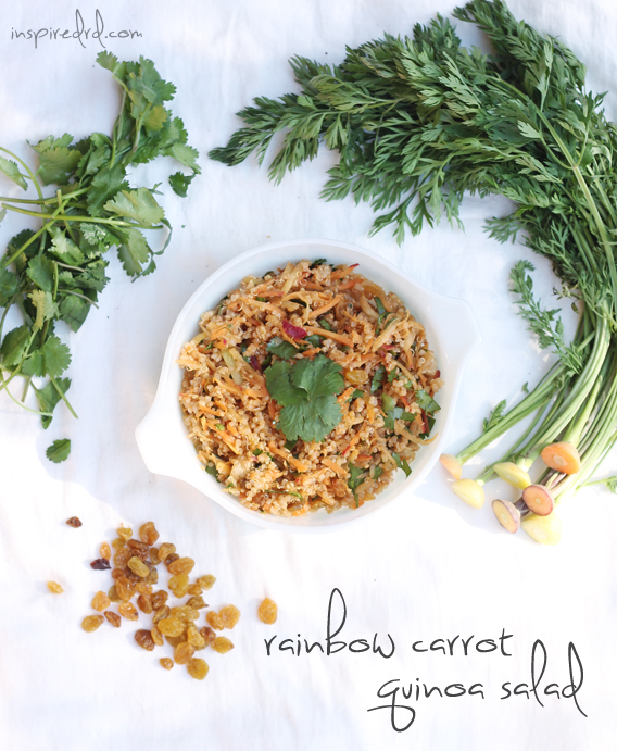 Rainbow Carrot Quinoa Salad via InspiredRD.com (gluten-free)