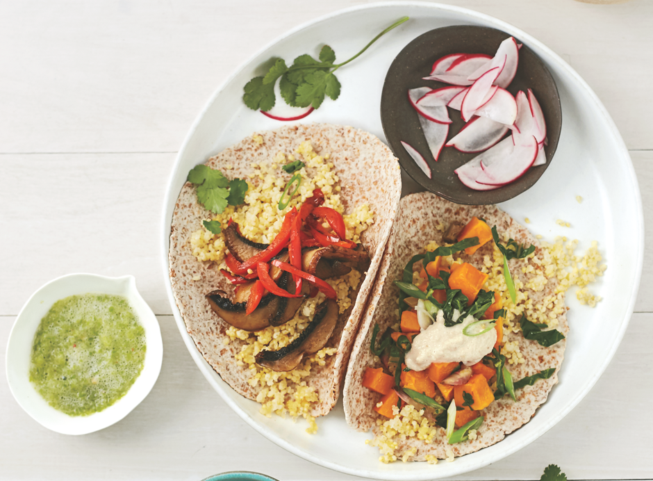 Millet 'n Veggie Breakfast Tacos: Two Ways - This filling combination of whole grains and veggies will keep you satisfied long until your next meal.