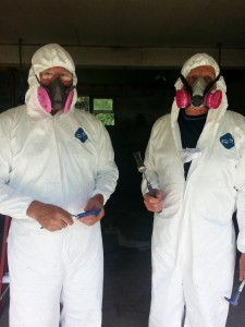 Bruce and Alan ready for asbestos removal
