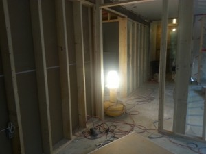 new offices being drywalled