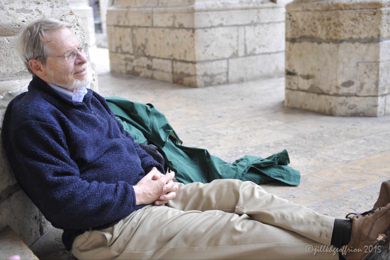 Pilgrim rests on the north porch