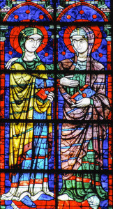 The Visitation: Apsidal 13th century stained glass
