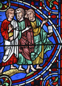 Three disciples walk in the Apostles Window by photographer Jill K H Geoffrion