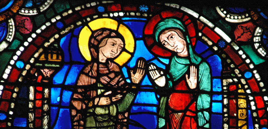 The Visitation, Life of Christ Window (12th century) by Jill K H Geoffrion