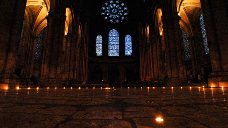 Candle lit labyrinth