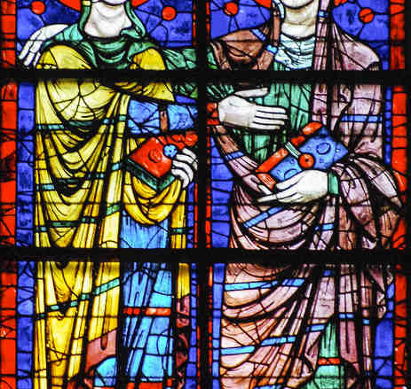 The Visitation, 13th century Apsidal window at Chartres Cathedral by photographer Jill K H Geoffrion