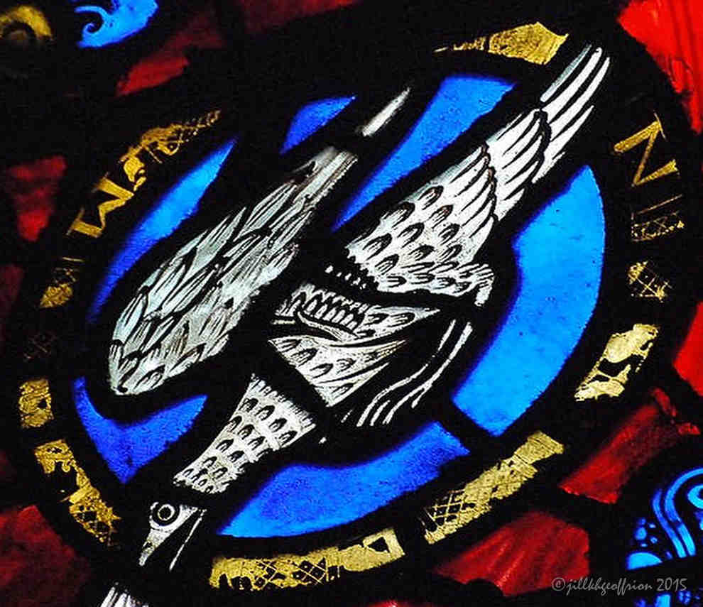 Dove above Jesus' head in the Jesse Window (1140-1150)