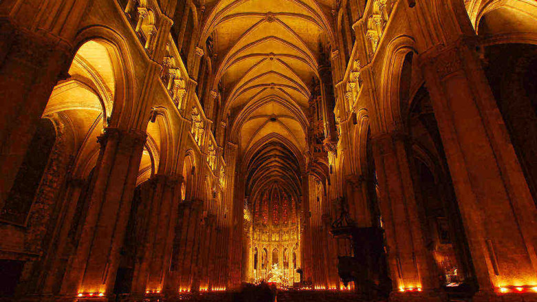 Candlelit nave at Chartres Cathedral by Jill K H Geoffrion, photographer