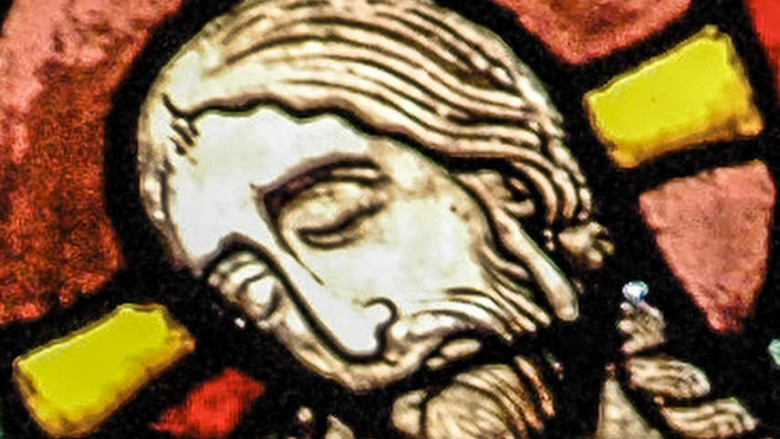 Jesus face in the Passion and Resurrection Window at Chartres Cathedral by photographer Jill K H Geoffrion