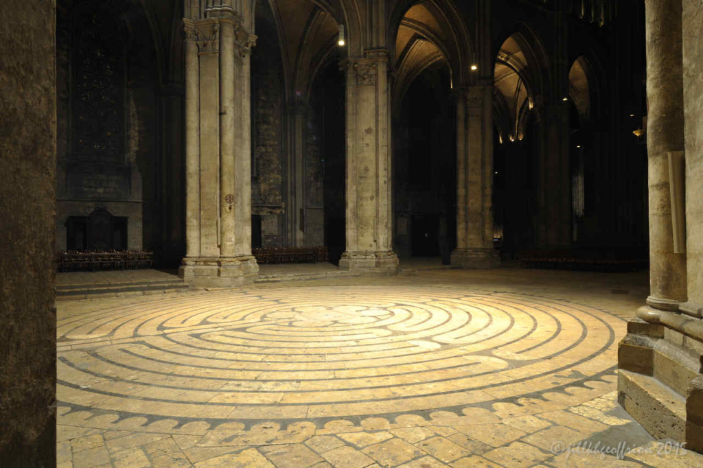 Labyrinth lit at night by Jill K H Geoffrion