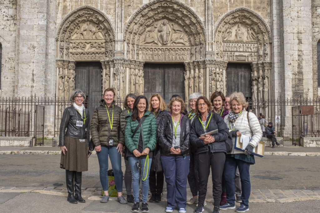 Group of Australian pilgrims with Jill Geoffrion in Chartres