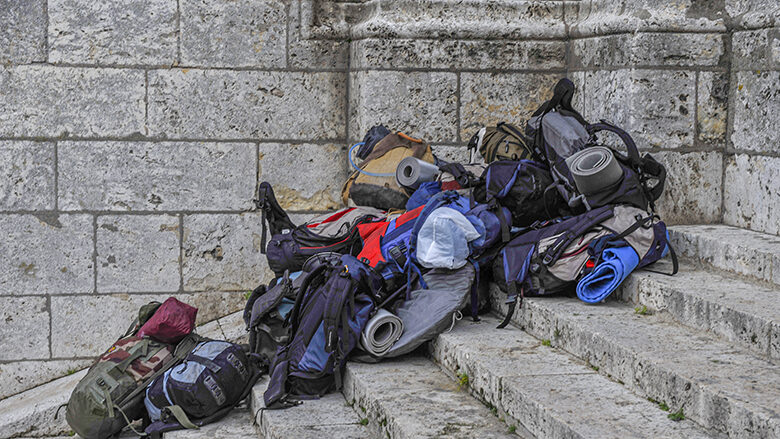 Backpacks of Pilgrims at Chartres by Jill K H Geoffrion