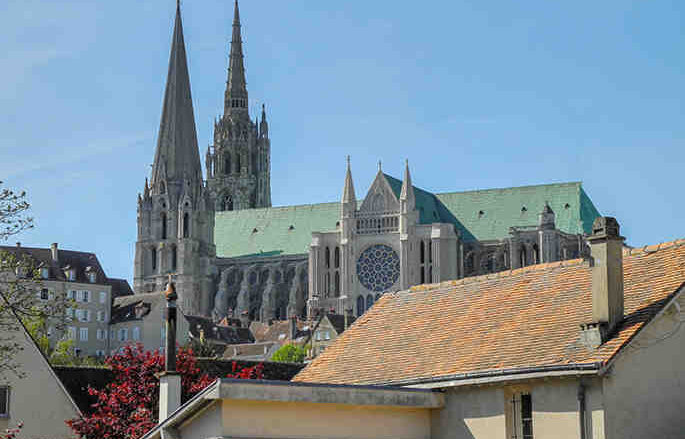 Cathedral view from private home Chartres by photographer Jill K H Geoffiron