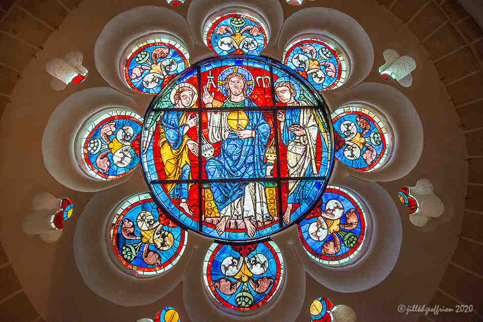 Restored stained glass window of Christ Chartres Cathedral by photographer Jill K H Geoffrion