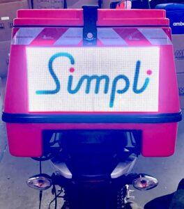 Simpli logo on motorcycle back box
