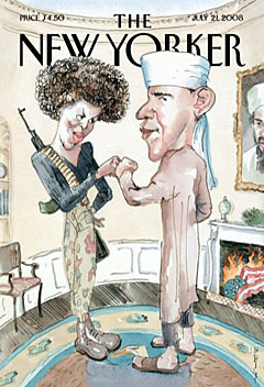Barry Blitt New Yorker cover of the fist-bumping Obamas.