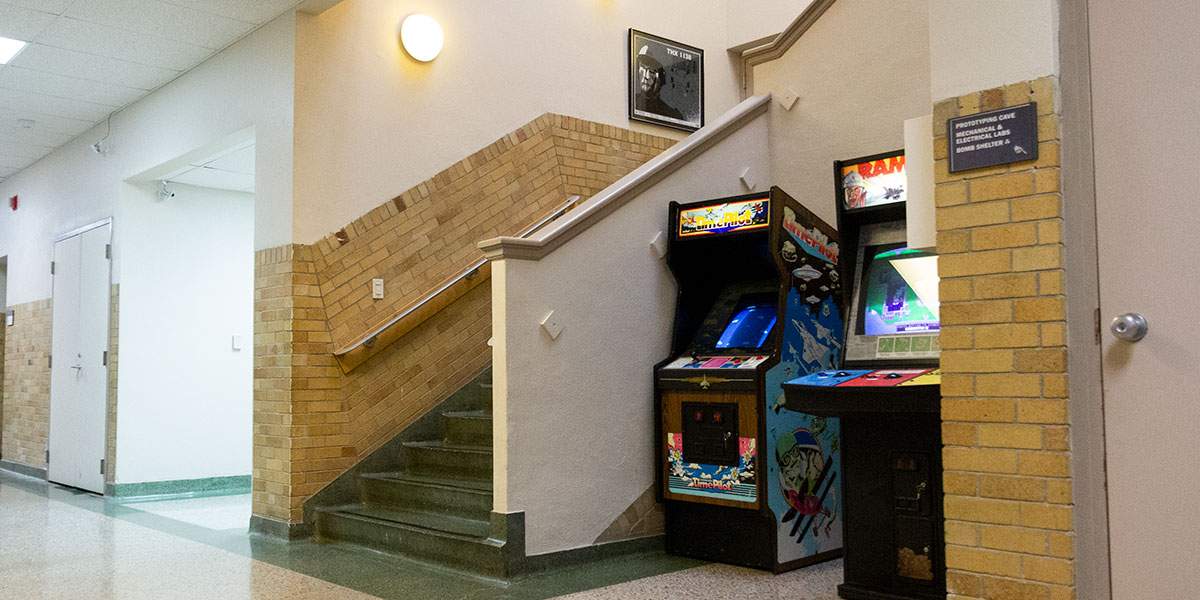 Arcade games at the main stairway