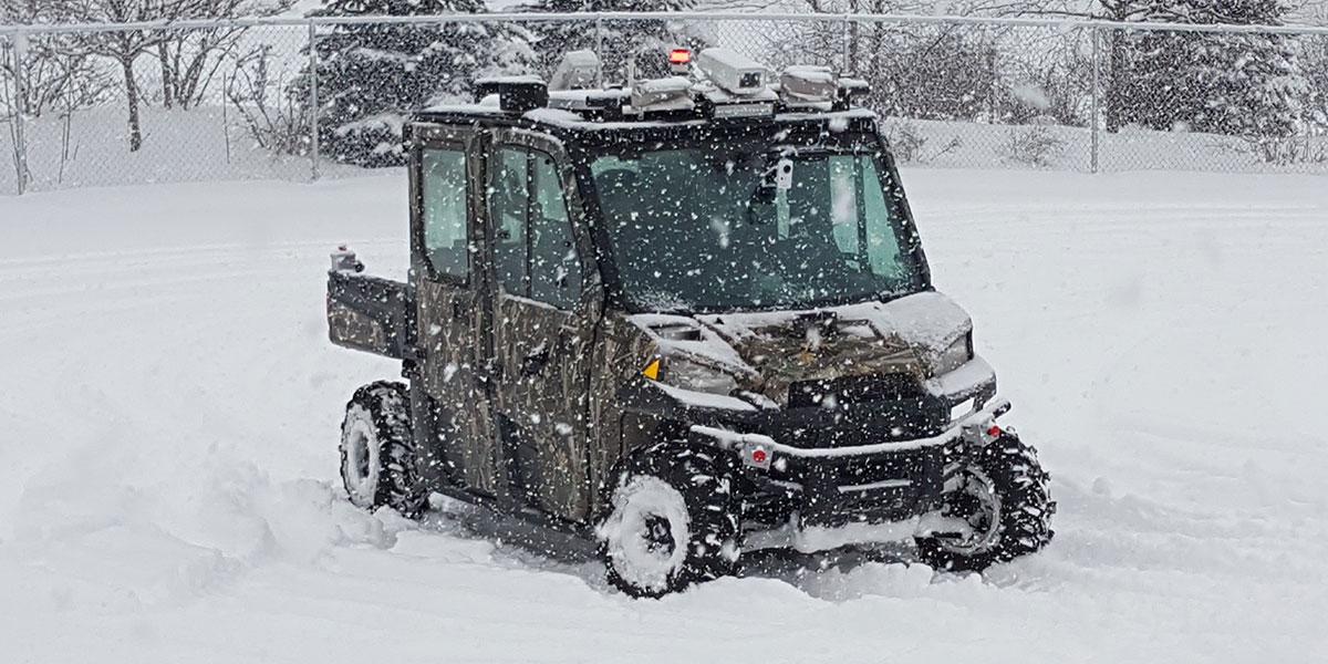Teleoperating vehicle drives through snow