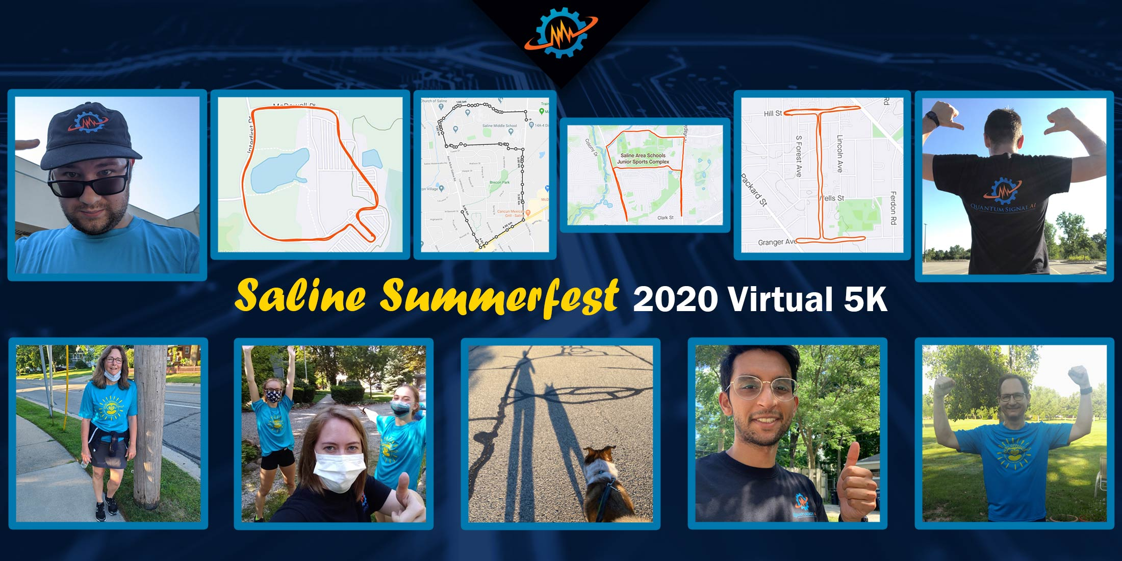 Saline Summerfest 2020 Virtual 5k selfies and race courses