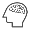 A simply-drawn icon of the outline of someone's head with the outline of a brain interlayed inside. The outlines are drawn in red.