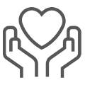 A simply-drawn icon of the outline of two hands coming together to cradle a heart. The heart is shaped like a standard heart symbol. The shape outlines are drawn in red.