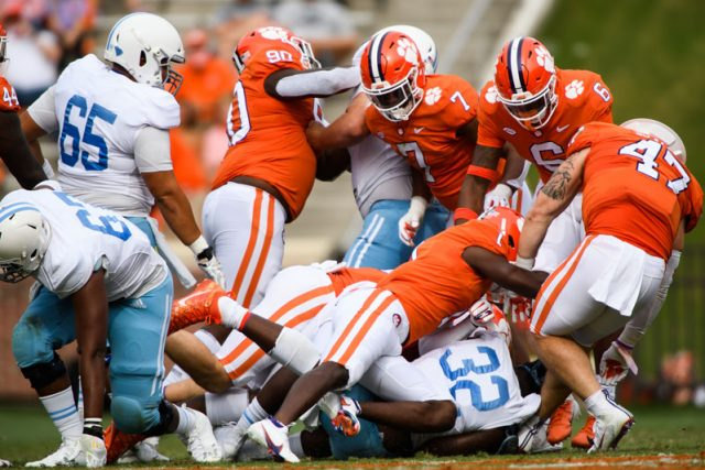 Clemson defense swarms The Citadel sophomore Emeka Nwanze (32) during the first quarter of their game against The Citadel Saturday, Sept. 19, 2020.