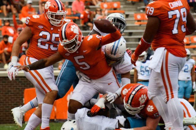 Clemson quarterback D.J. Uiagalelei (5) scores his second touchdown during the second quarter of their game against The Citadel Saturday, Sept. 19, 2020.
