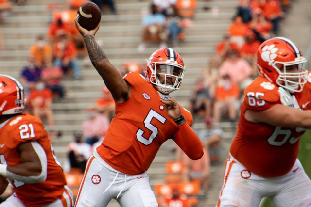 Clemson quarterback D.J. Uiagalelei (5) throws the ball during the second quarter of their game against The Citadel Saturday, Sept. 19, 2020.