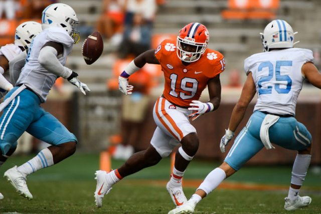 Clemson running back Michel Dukes(19) fumbles the ball during the third quarter of their game Saturday, Sept. 19, 2020.