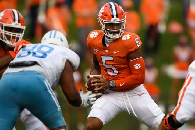 Clemson quarterback D.J. Uiagalelei(5) searches for a teammate to throw the ballt o during the third quarter of their game against The Citadel Saturday, Sept. 19, 2020.