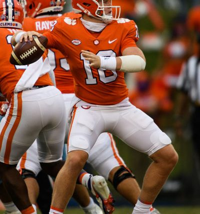 Clemson quarterback Hunter Helms (18) throws the ball during the fourth quarter of their game Saturday, Sept. 19, 2020.