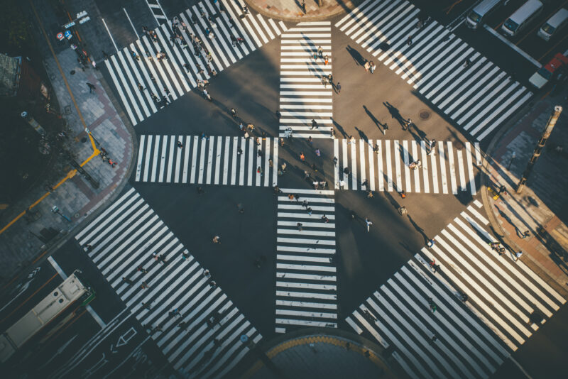 Ginza Cross in Tokyo. View from above