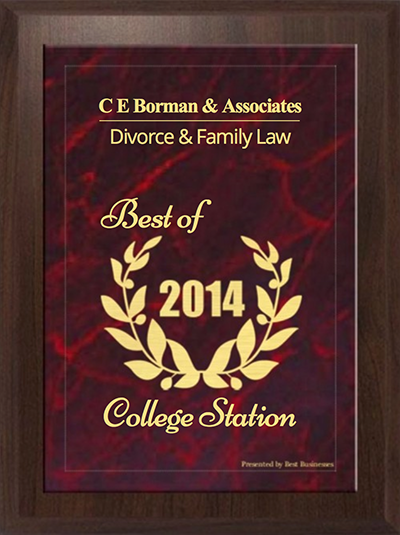 <br /><br /><br /><br /><br /> C.E. Borman & Associates has been selected for the 2014 College Station Best Businesses Award for Divorce & Family Law