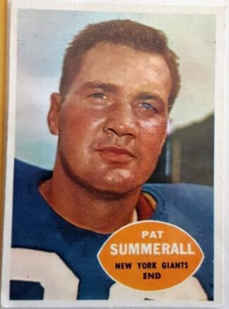 Pat Summerall New York GiantsTopps 1960 New York Giants NFL Sord Car #77 N.Y Giants