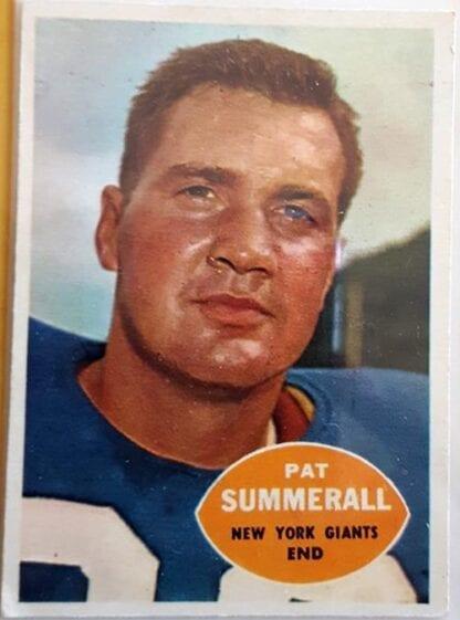 Pat Summerall New York GiantsTopps 1960 New York Giants NFL Sord Car #77 N.Y Giants