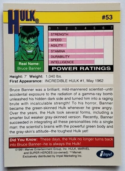"Hulk Marvel 1991 ""Super Heroes"" Back"