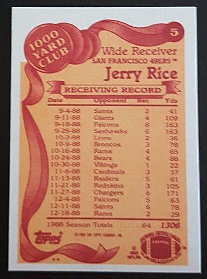 Jerry Rice 1000 Yard Club Topps 1989 Back