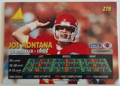Joe Montana Pinnacle Zenith 1995 Card #Z79 Back