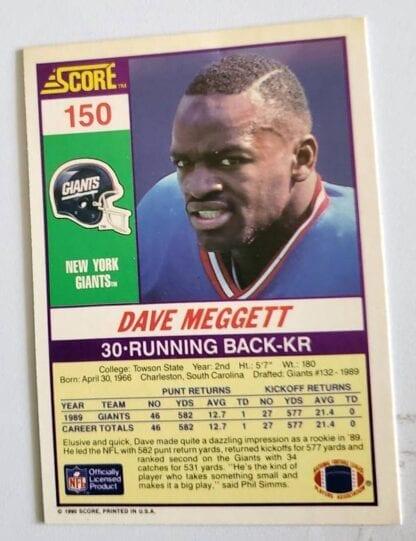 Dave Meggett Score 1990 Card #150 Back
