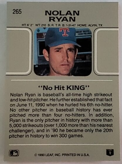 Nolan Ryan Leaf 1990 Card #265 Back