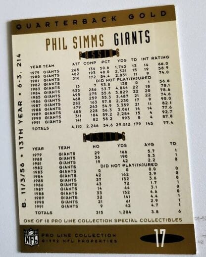 Phil Simms Pro Line 1992 Quarterback God