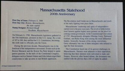 Massachusetts Statehood 200th Anniversary Back