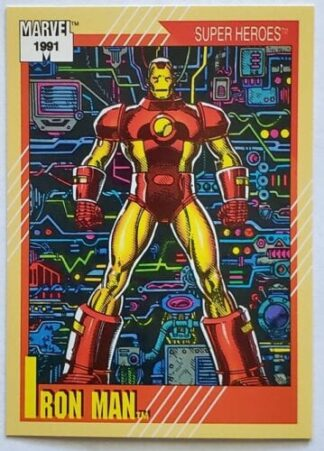 "Iron Man Marvel 1991 ""Super Heroes"" Card #13"