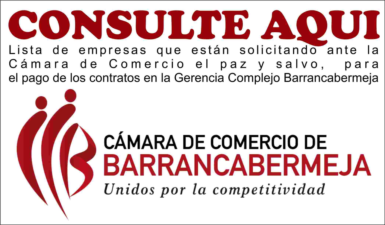 Consulte aquí Paz y Salvo Cámara de Comercio de BcaBja