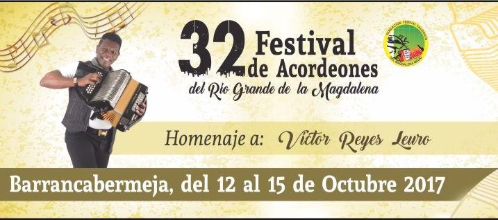 Este es el afiche del Festival de Acordeones del Magdalena Medio 2017