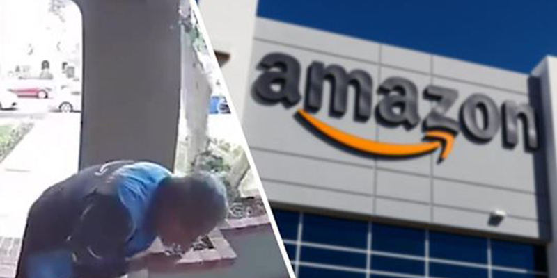 Repartidor de Amazon es captado cuando riega su saliva en un paquete que entregaba