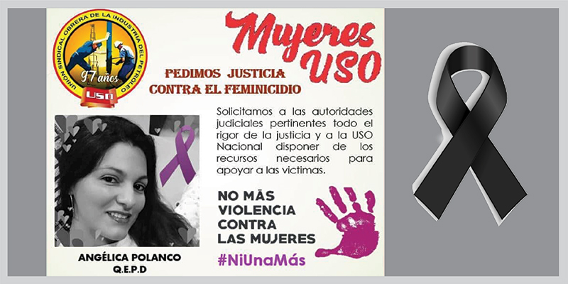 La USO condena el feminicidio de la profesora María Angélica Polanco