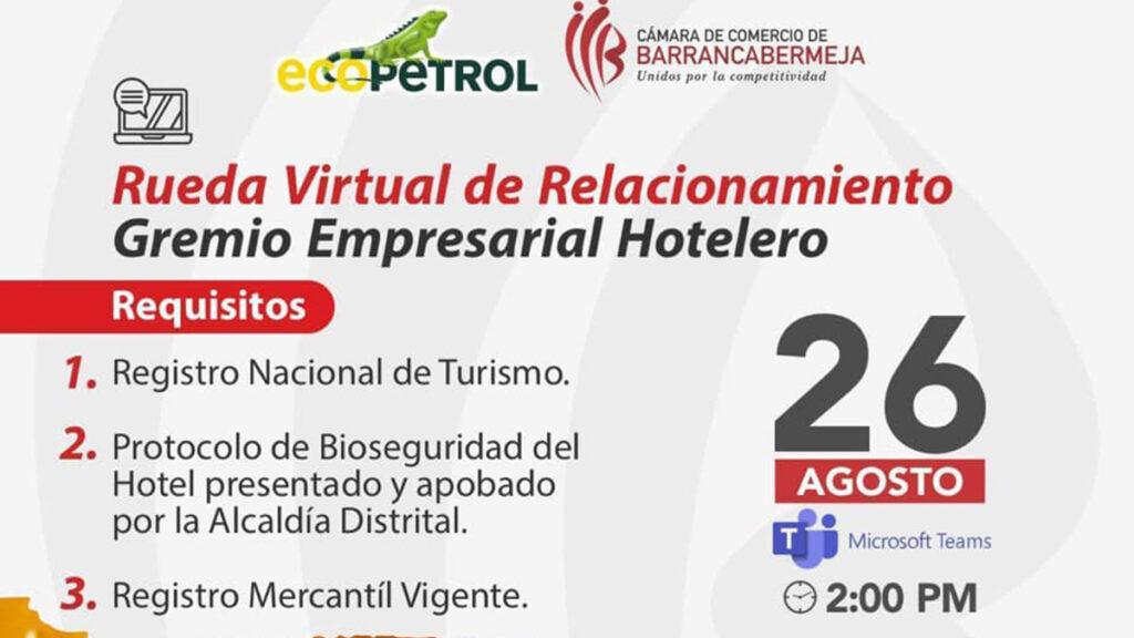 El 26 de agosto, Rueda Virtual de Relacionamiento con el Sector Hotelero