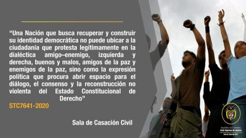 Corte Suprema adopta acciones para garantizar el ejercicio del derecho a la protesta pacífica
