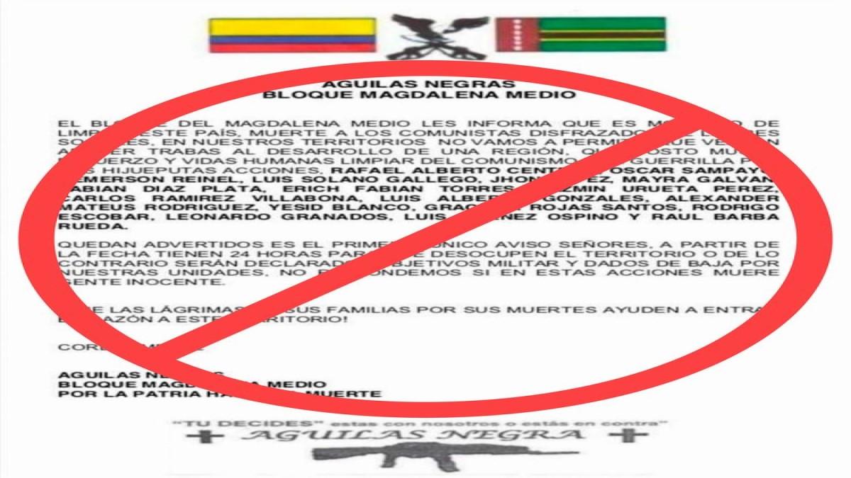 Alcalde de Barrancabermeja rechaza panfleto que amenaza a ambientalistas locales.